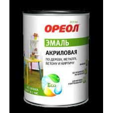 """Эмаль """"Ореол"""" 0,9 кг глянцевая белая акриловая(14"""