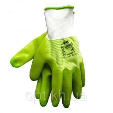 Перчатки нейлоновые прорезиненные САЛАТ-ПОЛОСКА (12)