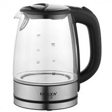 Чайник DELTA LUX DL-1204B корпус из жаропроч.стекла,черный,2200Вт,1,7л