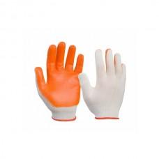 Перчатки бело-оранж/зел.желт. нейлоновые полиэфир. с латексом, р-р 10. 33гр (12)RICH
