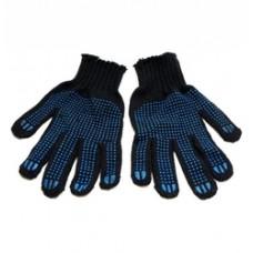 Перчатки БИРСК х/б 7нит.черные с ПВХ