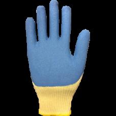 Перчатки сине-желтые нейлоновые полиэфир.с латексом 37гр(12) RICH
